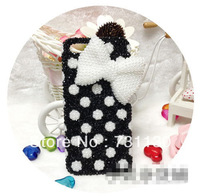 Hot sale free shipping Polka Dots colorful 3D bowknot plastic case for iphone 4 4s 5