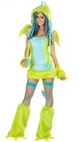 Sexy bird Green Dinosaur With Wings Anime Halloween Cosplay Costume Animal Apparel Uniforms For Women Sexy Adult Clothing