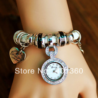 2013 New Hand Woven Leather Rope Pendant Watch bracelet GENEVA rhinestone watch for women ,4colors FREE SHIPPING