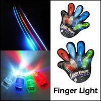 8pcs/lot Promotion Party Club Bar Magic LED Laser Finger Light Beam Ring 4 Color Laser Lamp Lighting