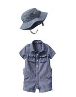 Retail Brand Boy's Romper+Hat/Children's Jump Suits+Cap/Cute Baby Kids Clothes 2In Sets