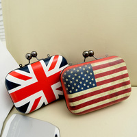 2013 UK/ USA National Flag women evening bags day clutches Chains small color block women's handbag FR168
