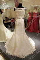 Wholesale - Amazing Cheap Lace Mermaid Wedding Dresses Bateau Hand Made Flower Chapel Train Actual Images M196