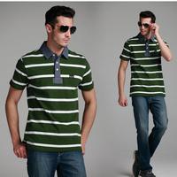 new fashion hot sale men's T-shirt Polo shirt male clohing stripe short-sleeved T-shirt for men free shipping