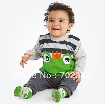 wholesale 2013 new design baby boy frog pattern striped t shirt +pants 2 pcs autumn clothing sets free shipping  5sets/lot  WS09