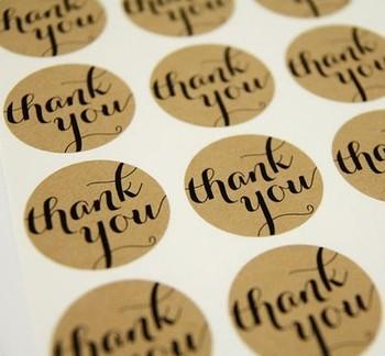 Brown Kraft Thank You Stickers 3.8cm 240pcs