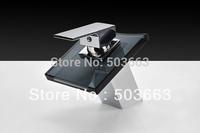 Wholesale 2013 Design Bathroom Basin Sink Glass Spout Waterfall Faucet Mixer Tap Vanity Faucet Crane Chrome S-088
