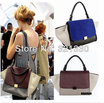 Designer Inspired Fashion 2013 trapeze big ear smiley swing women tricolor celebrity leather hand bag handbag  sale item