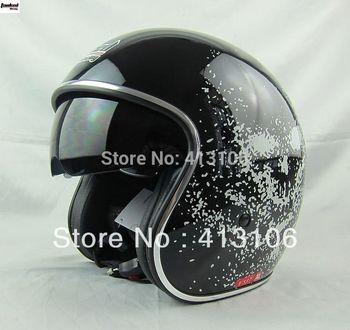 Free shipping/Motorcycle helmet/Jet helmet/ retro 3/4 half helmet/Tanked-Racing helmet/V537/inner visor/ MOMO style helmet/black