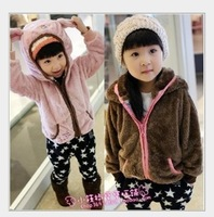FREE SHIPPING girl coat children clothes 2013 winter girls coat ear thickness soft child outerwear