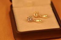 (Min Order $30 +Gift)+Free Shipping!Shining pearl pendant earrings zircon