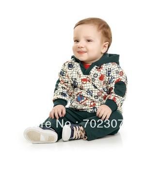 wholesale 2013  new design baby boy cartoon pattern hooded coat +pants 2pcs autumn clothing sets free shipping  5sets/lot  WS08