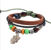 Personality to restore ancient ways jewelry beads leather bracelet braided bracelet owl bracelet wholesale by hand