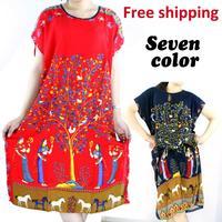 free shipping 2014 New Arrival hot sale women summer intimates sleepwear thin sleeping skirt home robe dress3 colour pajamas