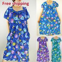 Free Shipping 2014 nighty Spring summer leisur printing knitting ladies sleepwear nightgown pajamas for women plus size large