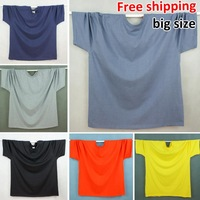 Free Shipping 2014 New Men's O-Neck Short Sleeve T-shirt For Fat Men Cotton T Shirts Oversized Size XL-5XL 6 Pure Colors Tee
