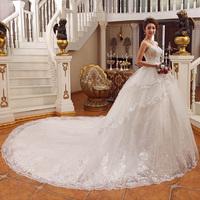 2013 bride long trailing wedding dress luxury rhinestone tube top big train wedding dress