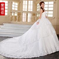 Luxury 2013 sweet lace big train wedding dress formal dress lace rhinestone long trailing