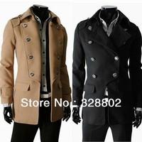 New 2014 polo Men's Trench Classic double-breasted men's windbreaker trench coat winter jacket  XXXL