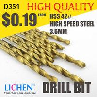 LICHEN D351 Diameter 3.5mm Twist Drell Bit & Metal Drilling & High Speed Steel HSS 42# Drill Bit