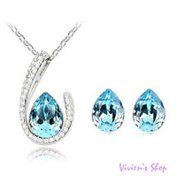 Free Shipping White Gold Plated Austrian Crystal Drop Necklace/Earrings Jewelry Set  AJS025