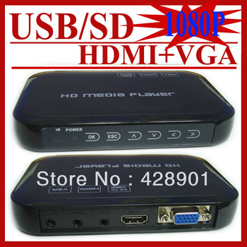 1080P HDD Media Player tv box  HDMI  HDTV MOV AVI MPG RMVB, SD/SDHC/MMC/USB2.0 free shipping