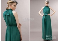 - Line Stand Collar Sleeveless wedding dresses Green Color Floor - Length Halter Dress