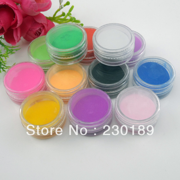 12 Color Acrylic Powder 3D Nail Art Builder Dust Manicure Nail Tips DIY(China (Mainland))