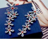 (Min order $10 mix) Fashion European and American popular long drill five tassel earrings Bohemia style women Drop Earrings