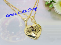Free Shipping Broken Heart Pendant Necklace Double Chains Gold/Silver Plating Top Quality Package (Dust Bag,Gift Box) #JCN125