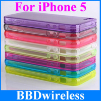 Free Shipping New Dirt Resistant Clear Soft TPU Matte Back Cover Case For iPhone 5