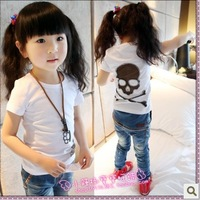 Children's clothing 2013 summer girls clothing skull personality female child short-sleeve T-shirt basic shirt