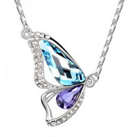women Fashion short design crystal necklace female pendant - butterfly - 1145 chromophous free shipping