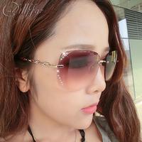 Frameless dillffar exquisite diamond-studded 2013 sunglasses female sunglasses glasses