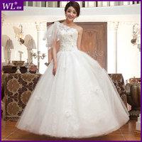 New arrival 2013 one shoulder lace wedding dress vintage princess wedding dress oblique