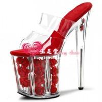 2014 women's shoes red rose platform transparent crystal platform shoes 20cm ultra high heels sandals