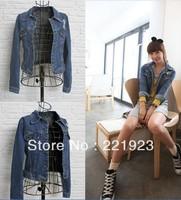 2013 spring new women denim jacket lapel long-sleeved dark blue / light blue - S - M - L yards