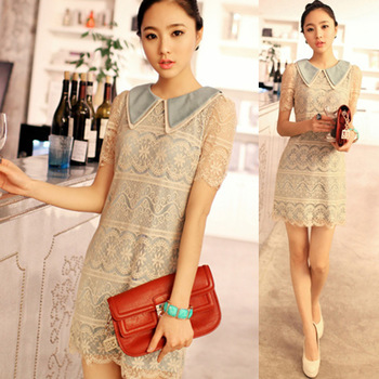 2013 women's lace shirt fancy sleeveless peter pan collar crochet lace one-piece dress