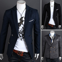2013 Hot Autumn high quality fashion men's casual men's double-breasted suit