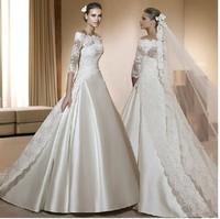 Fashion royal wedding dress lace train slit neckline short-sleeve star wedding dress customize