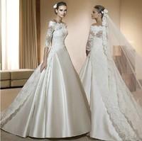 2013 slit neckline wedding dress vintage train princess wedding dress fashion elegant lace
