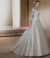 Fashion wedding dress long-sleeve lace slit neckline luxury vintage fashion short trailing 2012 new arrival wedding dress
