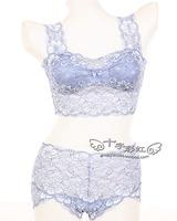 New arrival 2013 thin lace women's underwear tube top bra design full lace vest set