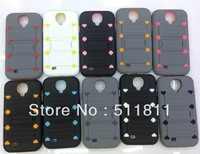 Hybrid pc+tpu shockproof protective combo stand case for samsung galaxy s4 i9500 ,100pcs/lot Free shipping by DHL