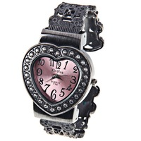Free Shipping  XinHua Women's Watch 12 Arabic Numbers Marks with Heart Shape Dial Steel Watchband