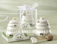 """Free shipping 12pcs/lot Wedding favor """"Meant to Bee"""" Ceramic Honey Pot with Wooden Dipper"""