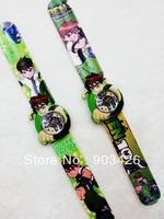Free shipping by DHL! 100pcs/lot! Top Sale Ben 10 Slap Watch Cartoon Children Wristwatch Slicone Snap Watch G2855 Wholesale