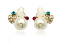 1Pair Italina Rigant Fashion Alloy love pearl stud earrings jewelry gift for Wedding anniversary Valentine Christmas