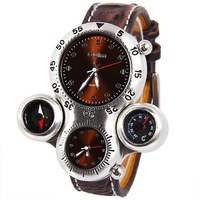 Free Shipping Oulm Men's Watch with Dual Movt Compass and Thermometer Function Brown Dial Leather Band
