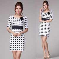 10000 2013 summer white polka dot elegant slim belt ol one-piece dress corsage